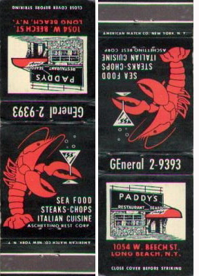 Matchbook from Paddy's
